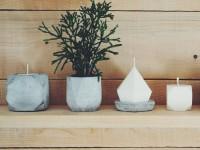 Des pots géométriques coulés en béton pour petites plantes et chandelles – De splendides créations québécoises