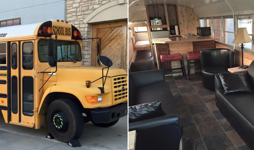 il transforme un autobus scolaire en mini maison et veut le vendre pour 30 000 joli joli design. Black Bedroom Furniture Sets. Home Design Ideas