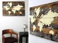 Des superbes cartes du monde composées de 7 planches de bois
