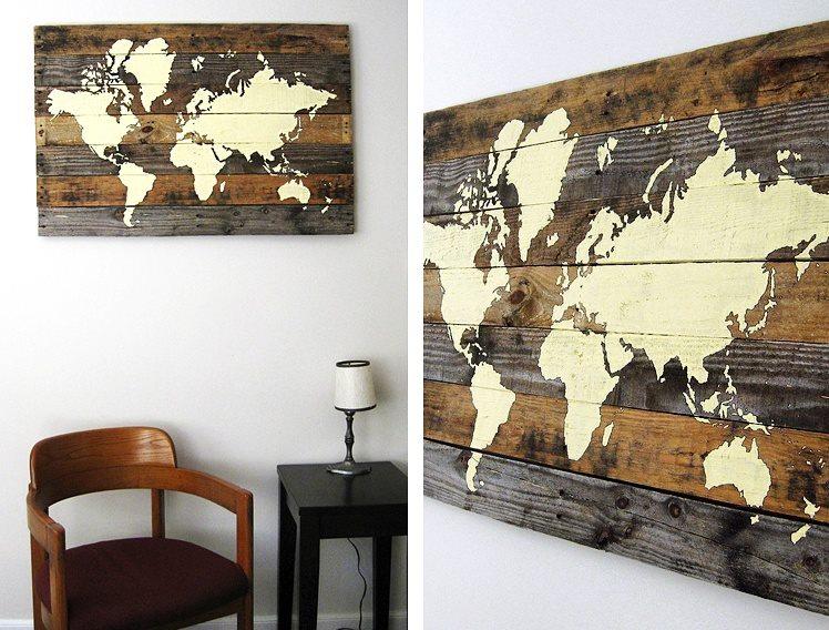 Carte Du Monde Sur Bois.Des Superbes Cartes Du Monde Composees De 7 Planches De Bois Joli